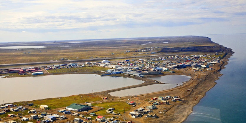 An aerial image of Utqiaġvik (Barrow), Alaska, from 2014
