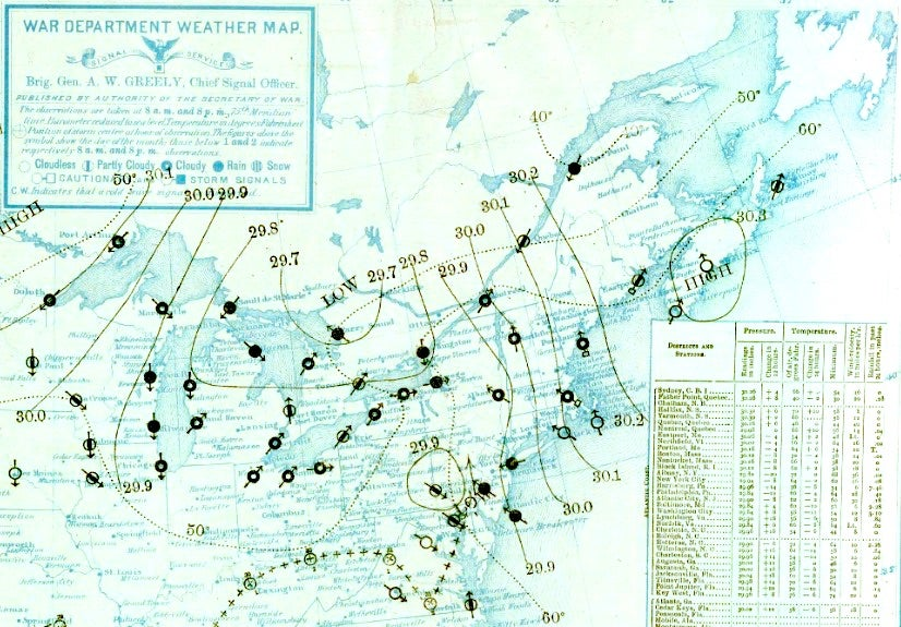Daily weather map for 8 am June 1, 1889.