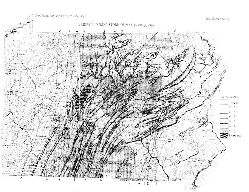 """Figure 4. Isohyetal map (a map with contours at various rainfall amounts) for Pennsylvania during the storm of May 30-31, 1889. It is estimated that a 12,000 sq. mile area of central Pennsylvania received 6""""-8"""" of rain during the storm. Image credit: Mont"""