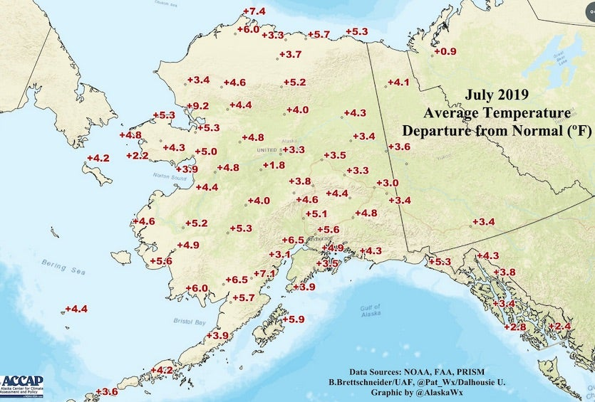 Departures from average July temperatures at various points in Alaska, July 2019