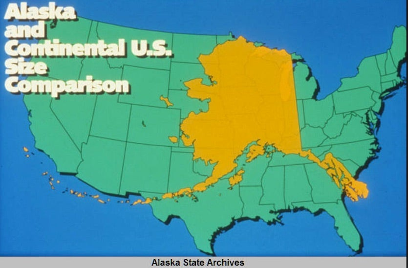 Alaska compared to size of contiguous U.S.