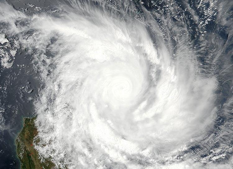 Satellite image of Cyclone Enawo striking Madagascar, 1024Z 3/7/2017