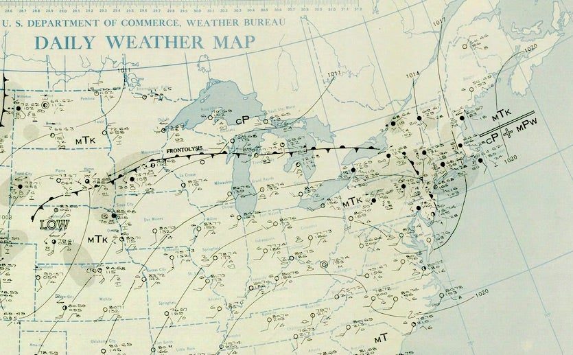 A section of the daily weather map at 7 am ET July 18, 1942