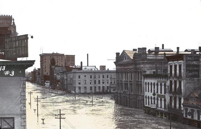 Dayton, Ohio's Fifth St. submerged under 10 feet of water during the city's most catastrophic flood on record in March 1913