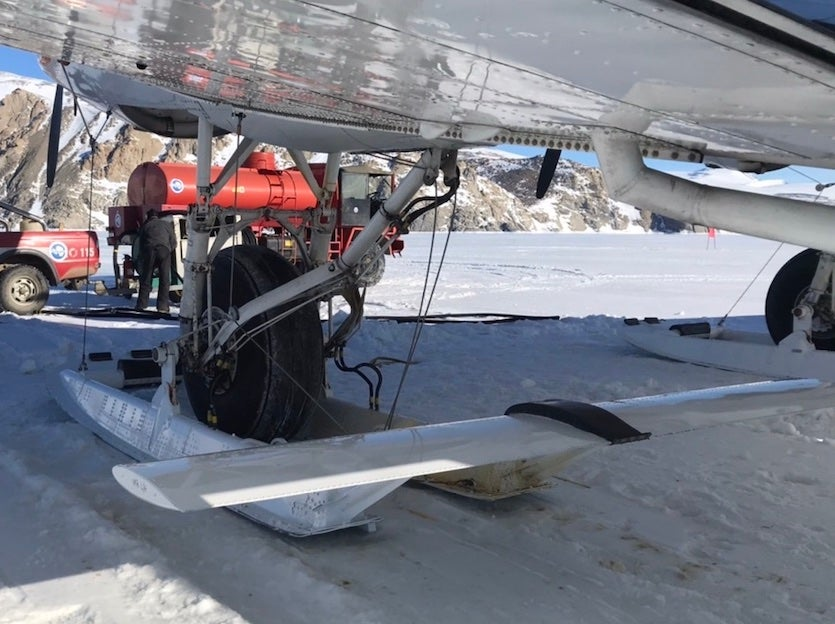 Ski-equipped landing gear for a plane that travels between stations in Antarctica.