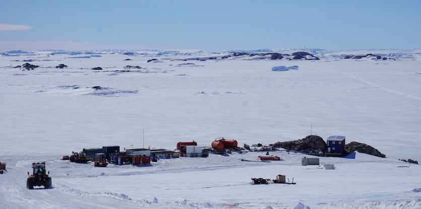 Cap Prud'homme station, the French base for traverse logistics and vehicle maintenance in East Antarctica
