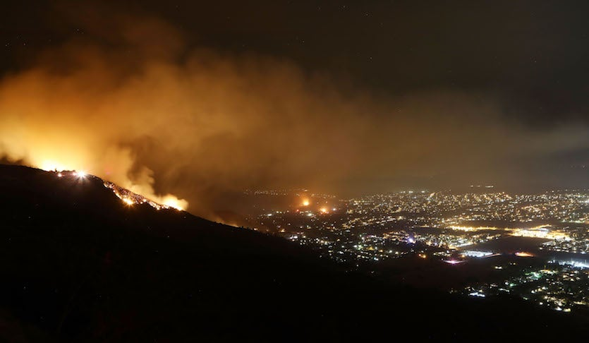 The Holy Fire burns on August 10, 2018 near Lake Elsinore, California