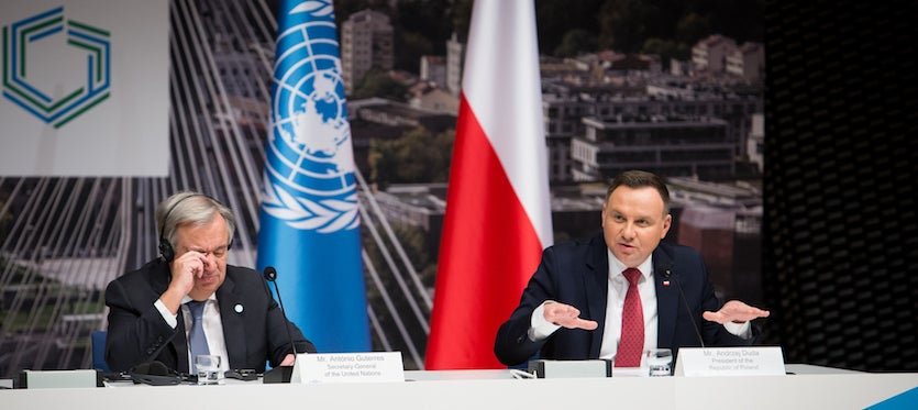 UN secretary-general Antonio Guterres (L) and Polish president Andrzej Duda (R) during the joint press conference at the COP24 meeting in Katowice, Poland on 3 December 2018