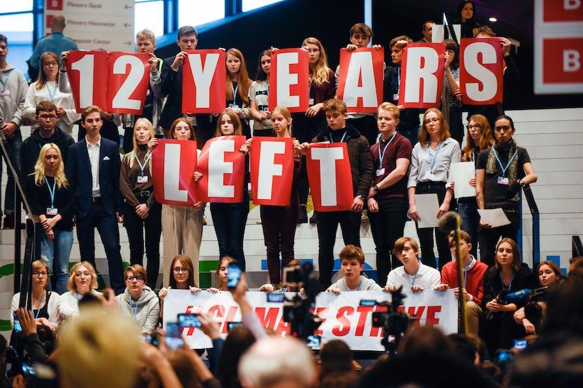 Polish students protesting at COP24, Katowice, 12/2018