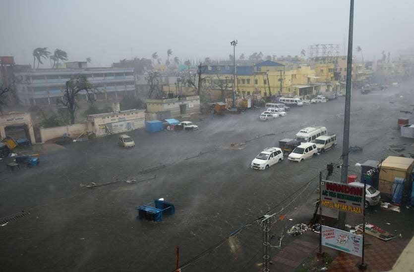 A view of Grand Road in Puri, India, during Cyclone Fani on Friday, May 3, 2019