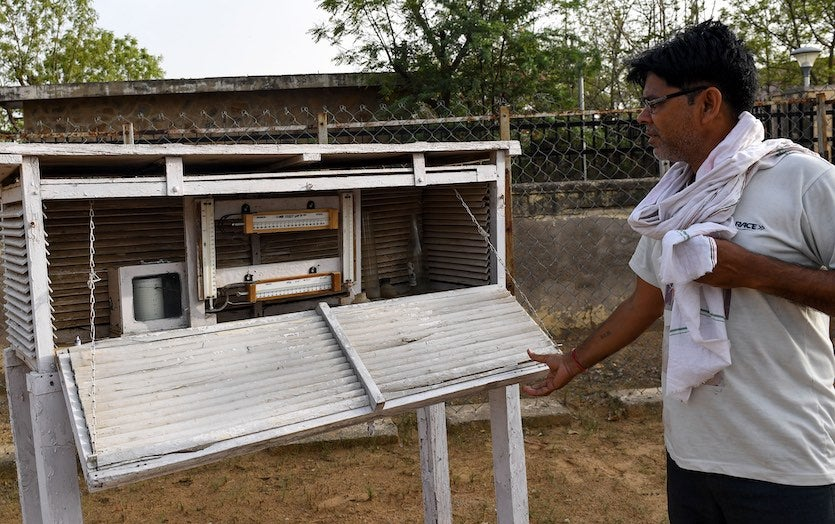 The India Meteorological Department's observing site in Churu, Rajasthan, where a high of 50.8°C (123.4°F) was recorded on June 3, 2019