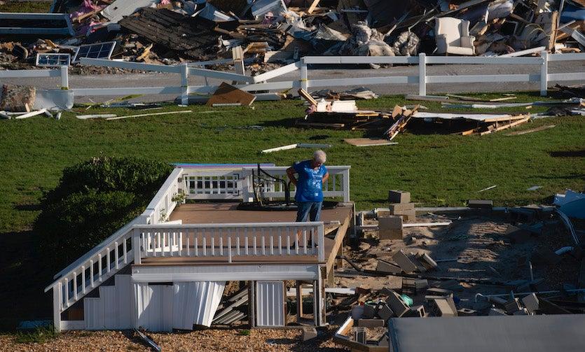 Tornado damage in Emerald Isle, NC, associated with Hurricane Dorian