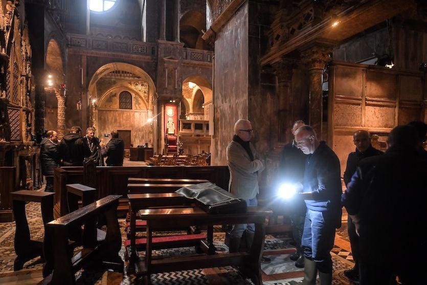 Flood damage assessment in St. Mark's Basilica, Venice, 11/13/19