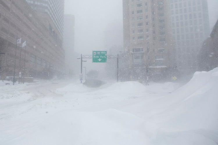 Snowbound highway entrance in Boston, 2/15/2015