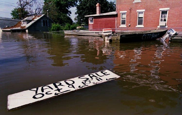 Flood waters in Grafton, IL, during Great Flood of 1993