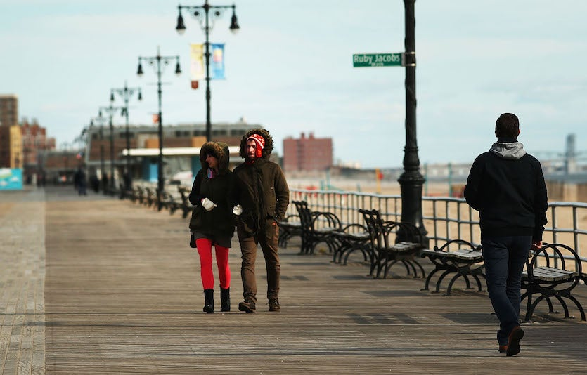 People walk along a nearly empty boardwalk at Coney Island, 11/10/2017