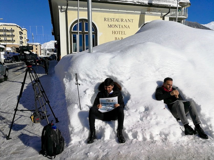 Journalists atop snow in Davos, 1/23/2018