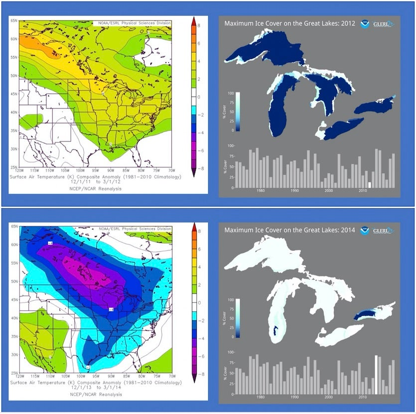 Examples of warm and cold winters and the relationship to Great Lakes cover
