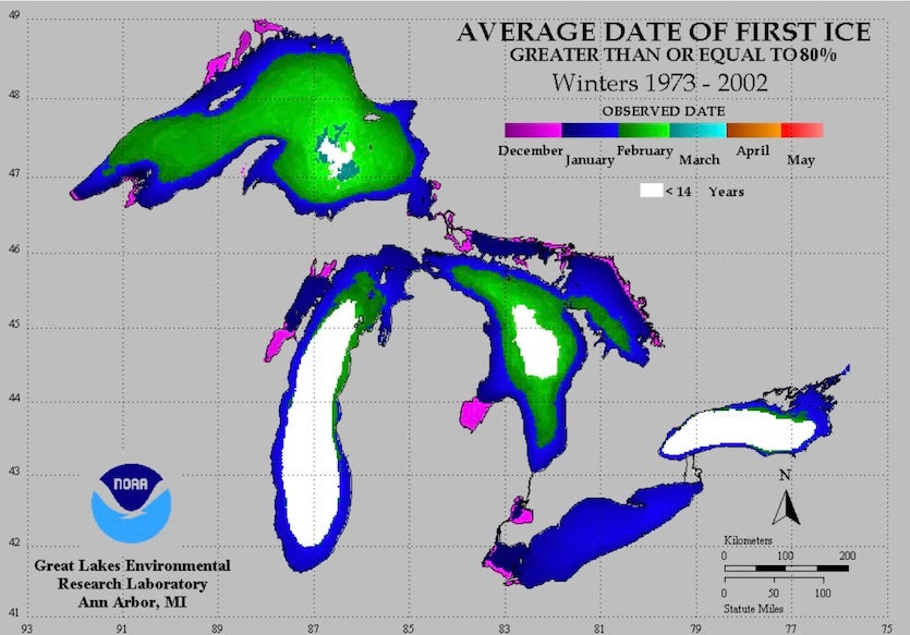 Average date of first ice (> 80% coverage) from 1973 to 2002 on the Great Lakes
