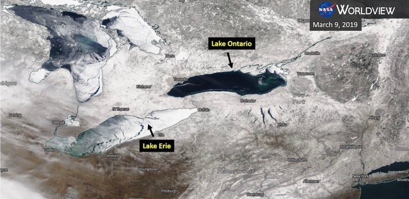 Comparison of ice cover on Lakes Erie and Ontario on 3/9/19