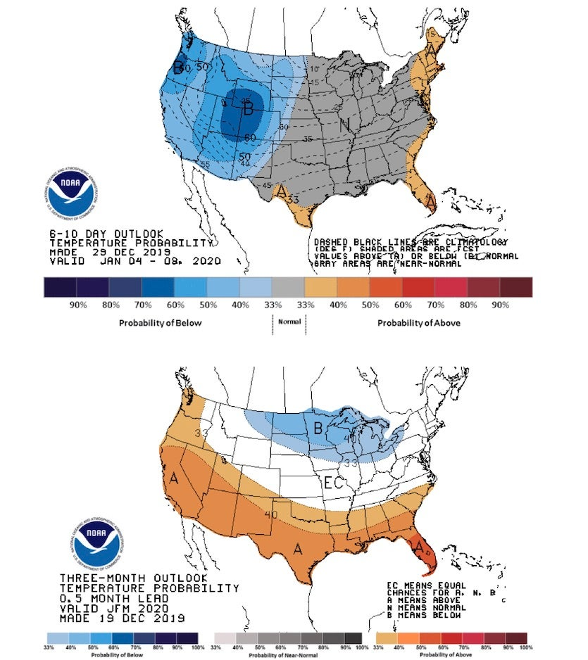Temperature outlooks for the period Jan. 4-9, 2020 (top) and Jan.-Mar. 2020 (bottom) for the contiguous United States