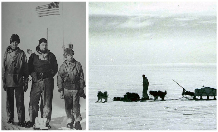 Charles Passel (left) and researchers in Antarctica, around 1939-1941
