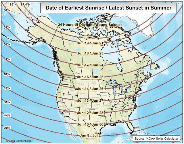 Dates of the earliest sunrise and the latest sunset in northern summer
