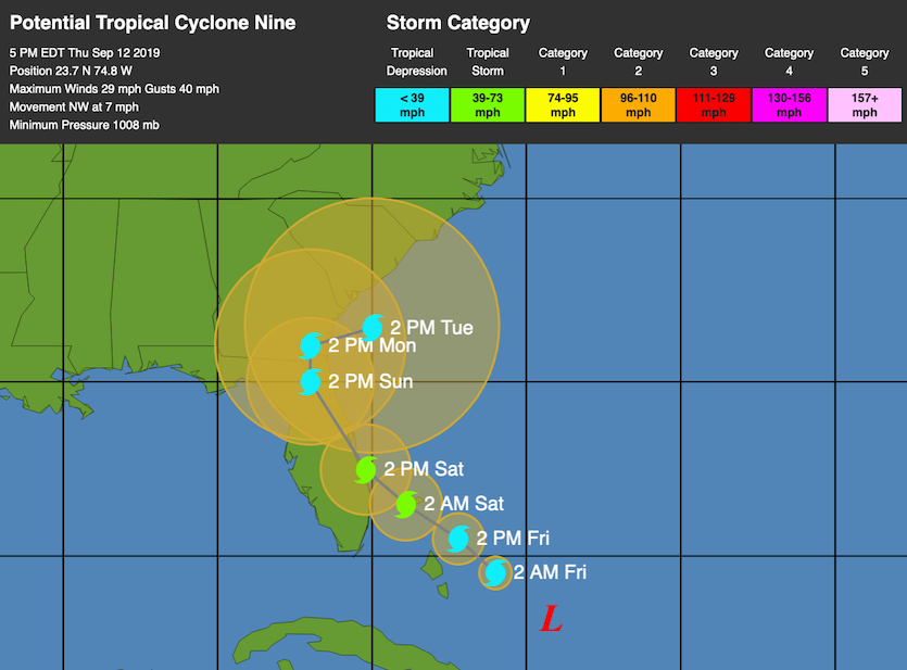 WU depiction of NHC track forecast for PTC 5 as of 21Z 9/11/19