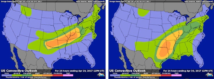 Convective outlook for Days 1 and 2, issued Fri. AM 4/28/2017
