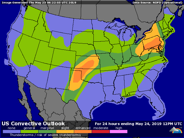 Severe weather outlook issued early Thursday, May 23, 2019, valid through 7 am CDT Friday