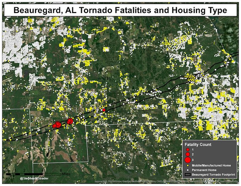 Locations of mobile/manufactured homes and permanent homes within the part of the EF4 portion of the tornado that ravaged Lee County, Alabama, on March 3, 2019