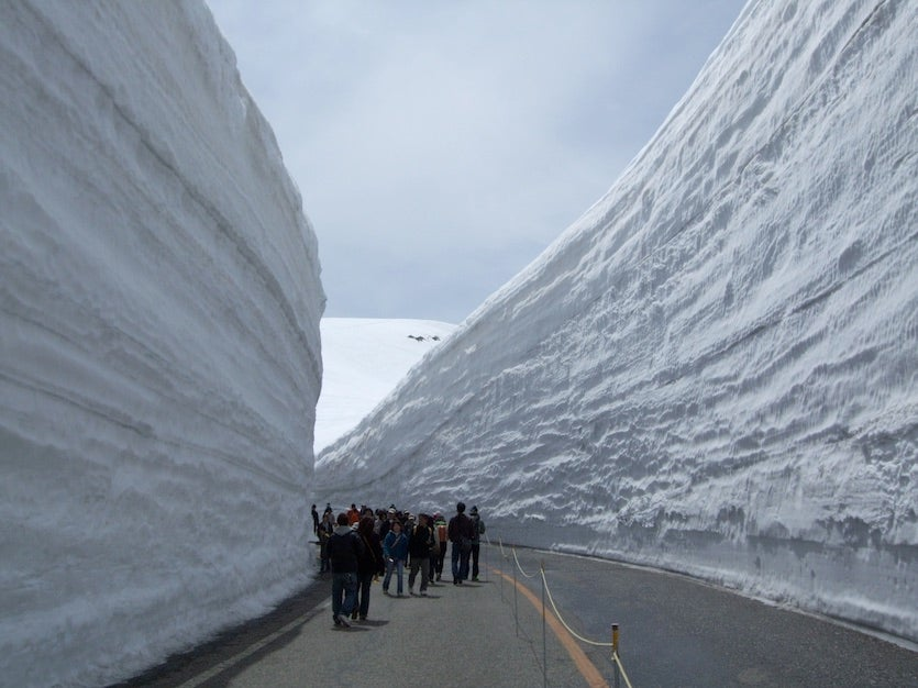The famous Yuki-no-Otani snow canyon along the Tateyama Kurobe Alpine Route, Japan
