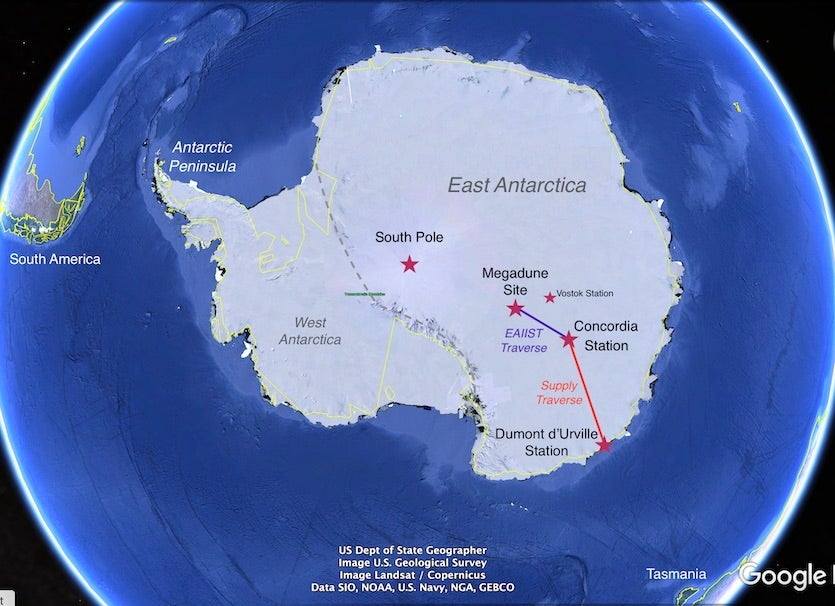 Map of Antarctica with key EAIIST mission sites
