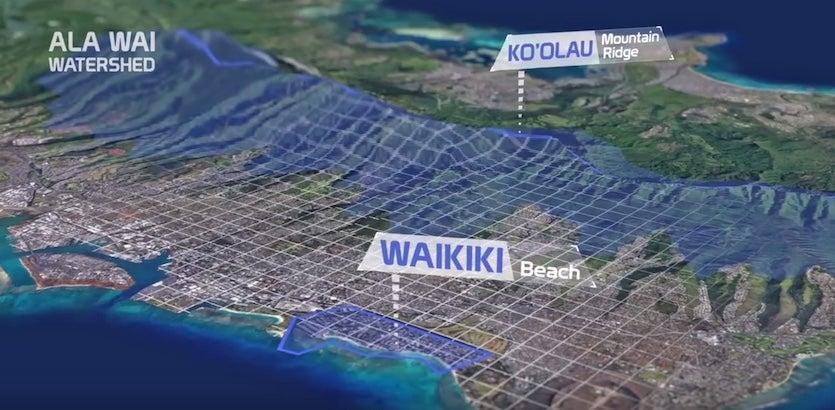 The Ala Wai watershed of Oahu, Hawaii, which runs from the Ko'Olau mountain ridge across densely populated Honolulu to Waikiki Beach