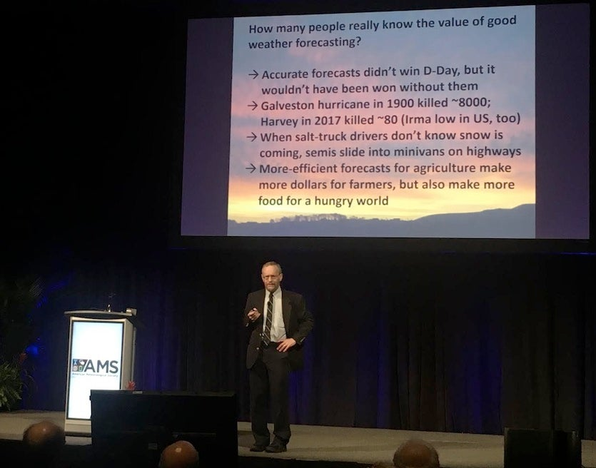 Richard Alley delivers the Presidential Forum keynote at the American Meteorological Society's annual meeting on Sunday, January 7, 2017.