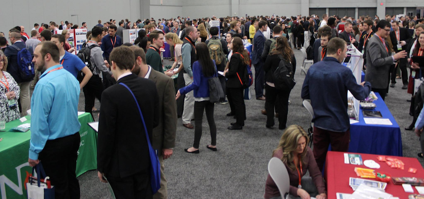 Hundreds of soon-to-be graduates and young professionals attended the AMS Student Conference Career Fair on Saturday night, January 6, 2017