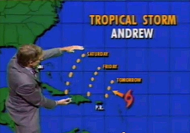 Hurricane Andrew uncertainty cone