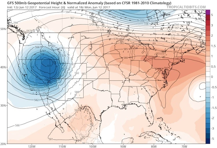 500-mb heights and anomalies at 12Z 6/12/2017