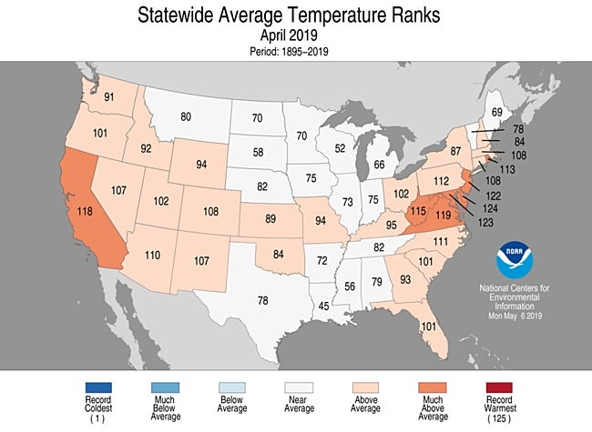 Statewide rankings for average temperature for April 2019, as compared to each April since records began in 1895