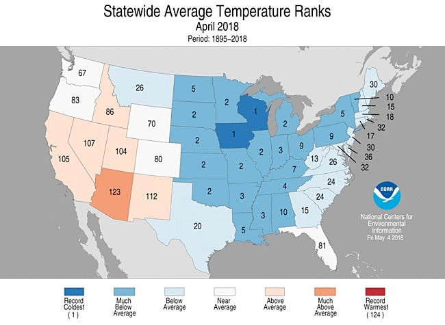 Statewide temperature rankings for April 2018
