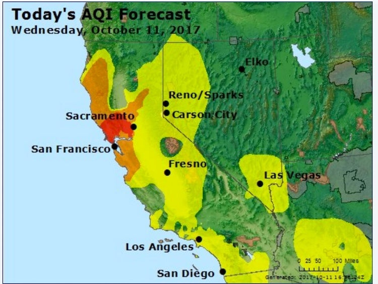Air Quality Index forecast for California, 10/11/2017