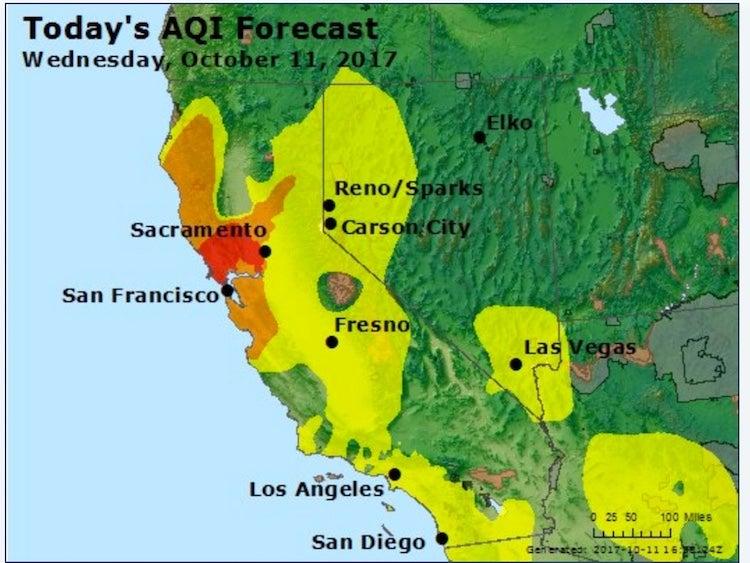 Air Quality Index forecast for California, 10/11/2017