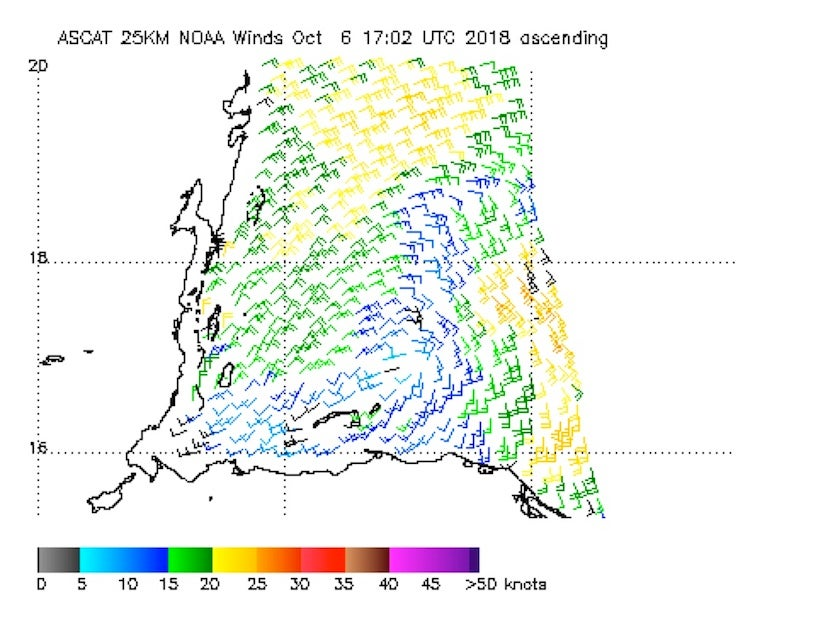 Surface wind estimates from the ASCAT scatterometer on Saturday morning, October 6, 2018.