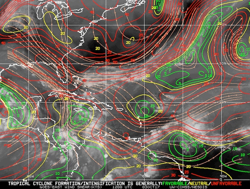 Strong wind shear of 20 – 50 mph (red contours) prevailed across Florida and The Bahamas at 8 am EDT Tuesday, October 3, 2017
