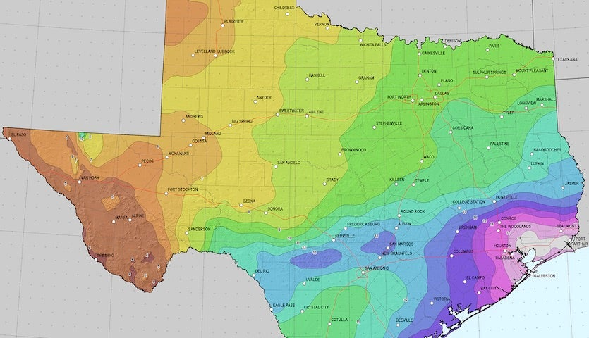 Storm-total rainfall amounts that would be expected to occur about once every 100 years across parts of Texas