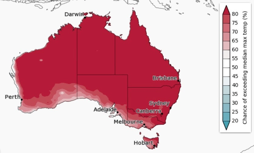 Summer temperature outlook for Australia, 2018-19