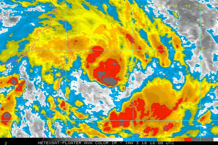 Infrared image of Tropical Storm Ava at 1800Z (1 pm EST) Wednesday, January 3, 2018.