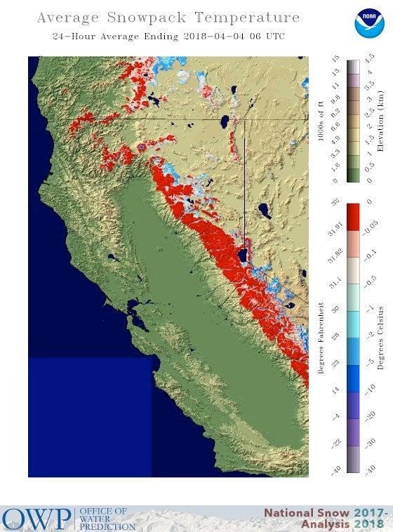 Average snowpack temperature in California, 4/4/2018