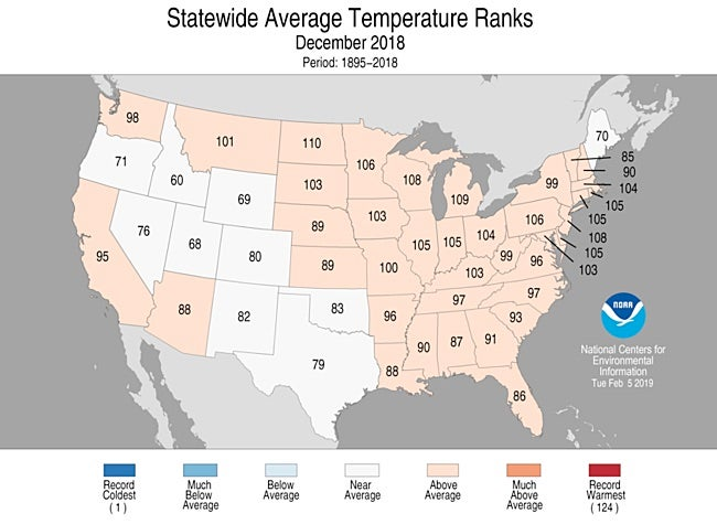 Statewide rankings for average temperature for December 2018, as compared to each December since records began in 1895