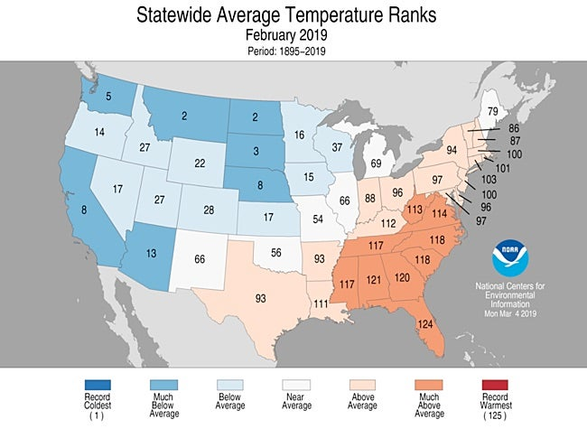 Statewide rankings for average temperature for February 2019, as compared to each November since records began in 1895